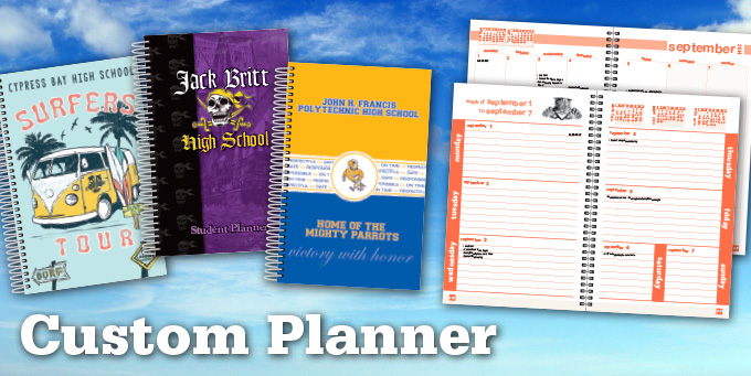 Custom student planners school datebooks school for Custom photo planner